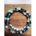 Bracelet double agate/quartz rose